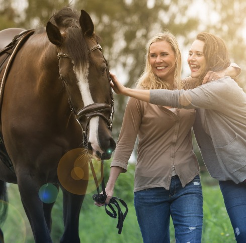 Two Women and a Horse
